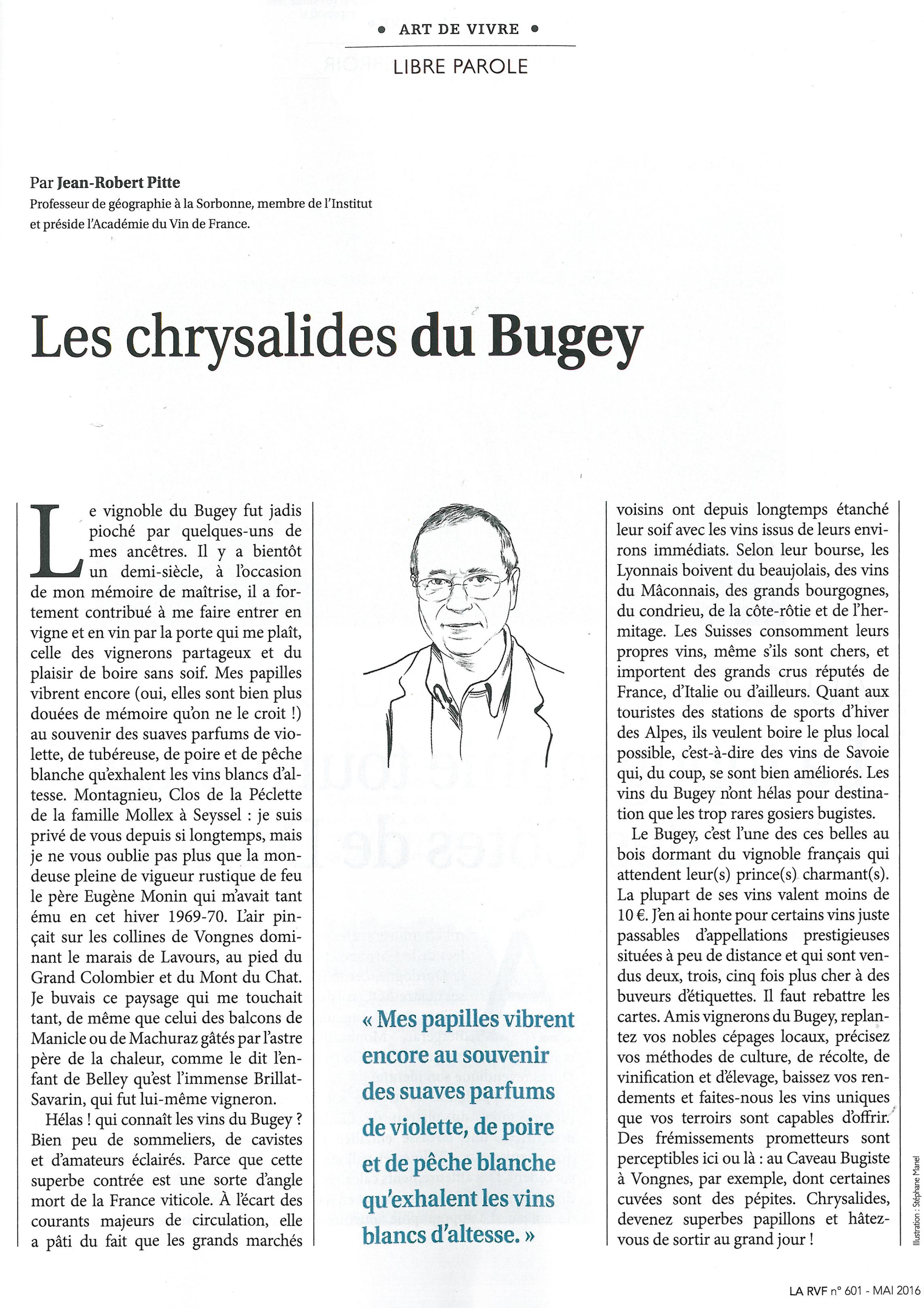 Les chrysalides du Bugey par Jean-Robert Pitte de la Revue des Vins de France