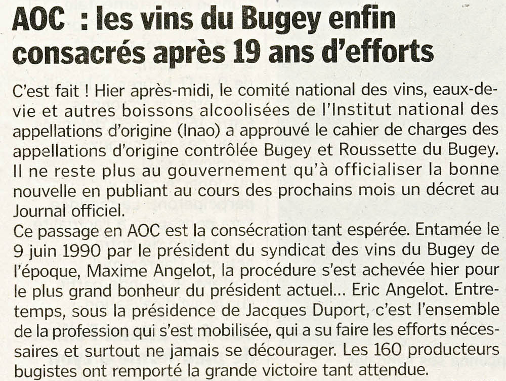 AOC : les vins du Bugey enfin consacrés après 19 ans d'effort
