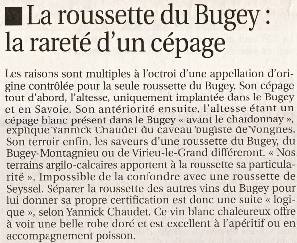 La roussette du Bugey : la rareté d'un cépage