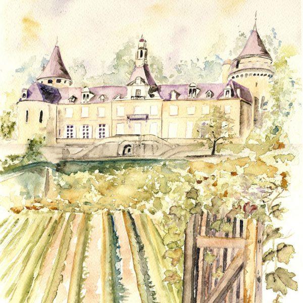 Le Chateau de Machuraz, aquarelle d'Éliane Frutos